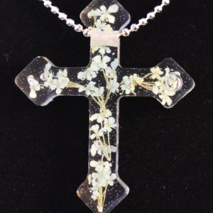 Cross Pendent with Babies Breath Flowers